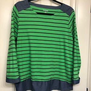 XL Kim Rogers layered look green/navy stripes